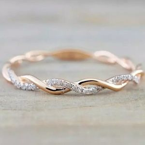 Rose Gold Delicate Twisted Eternity Band